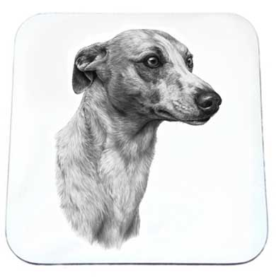 Mike Sibley drink coaster - Whippet