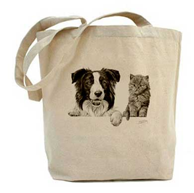 Mike Sibley Oslo canvas tote bag - Border Collie and Kitten design